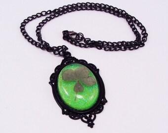 Four Leaf Clover, Resin Pendant, Lucky Pendant, Green Glitter Back, Black Chain and Bezel