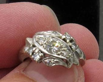 Antique 14K White Gold Diamond Deco 1930's Size 4 1/2  Ring  .65 TCW