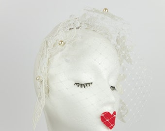 Lucy Bridal Fascinator - birdcage veiling - white lace flowers - cream pearls - wedding