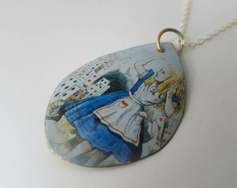 Alice in Wonderland - playing cards recycled tin pendant