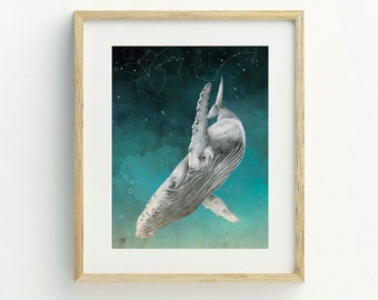Whale Art Print, Whale Art, Constellation Print, Whale Illustration, Whale Print, Original Artwork, Ocean Art, Constellation Print, Bohemian