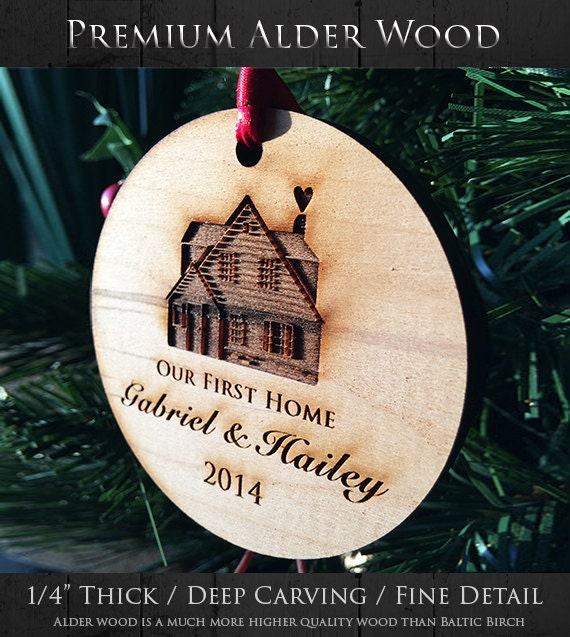 Our First Home Christmas Ornaments Handmade Personalized Wood