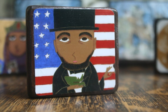 President Abrahan Lincoln 2.5 X 2.5 inch Icon Print on Wood