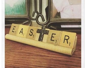EASTER decor, inspirational decor, with cross charm, He is risen, Encouragement card, believe, pastor gift, faith hope love, Jesus Christ