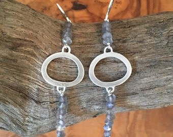 Labradorite and silver dangle earrings