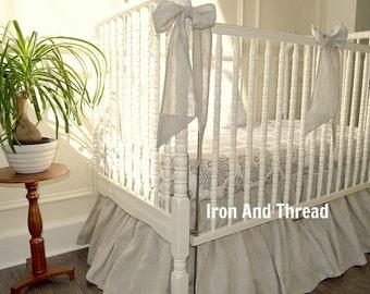 Natural Washed Linen Baby Bedding.  3 pieces. Linen Crib Skirt, Sheet, Bows.  Bumperless Natural Linen Cirb Bedding.