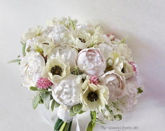 Alternative wedding bouquet Keepsake shabby chic bouquet Clay Bridal bouquet with anemones and peonies Light pink bouquet with peonies