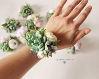 Succulent Corsage Bracelet Wedding flowers Groom boutonniere Succulent Bridesmaid corsage Coordinating wedding accessories Clay Flowers