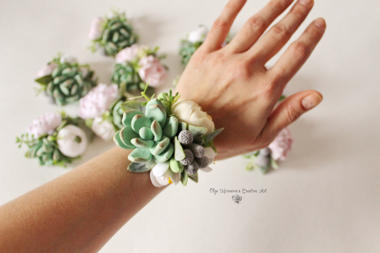 Succulent Corsage Bracelet Wedding flowers Groom boutonniere