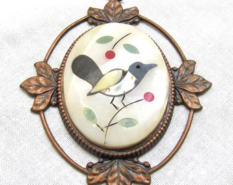 Inlaid Bird Pendant MOP Mother of Pearl in Copper Setting