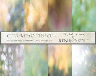 Clear skies golden hour collection digital background textures scrapbook paper