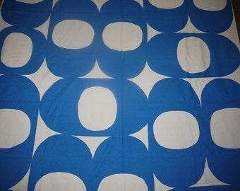 Geometric Fabric - 70s - Space Age - Mid Century - Scandinavian Design - Blue / White - Craft -