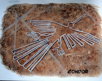 Nazca Lines Painting, Ancient Symbol of Condor Pre Colombian Art;  South American Art, Desert Geoglyph Petroglyph  GeoArtifact, Ancient Art