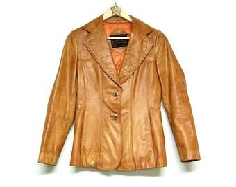 Vintage 70s Leather Blazer, Jacket, Distressed Leather Jacket, Hippie Jacket, Upcycled Women's Clothing by Primitive Fringe