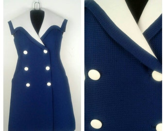 HEY SAILOR! Nautical Sailor Vintage Dress Rockabilly Pinup Girl Clothing Size Large/XLarge SUB82