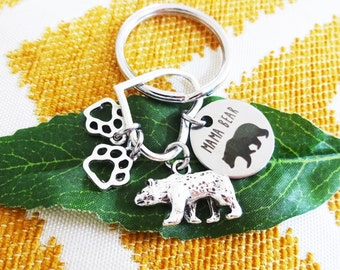"MAMA BEAR KEYCHAIN on a heart with baby paw print charm(s) - Read ""item details"" & see all photos - one flat rate shipping in my shop :)"