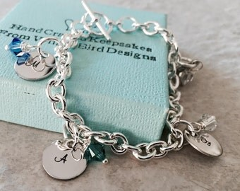 Personalized Charm bracelet with monogrammed initials and birthstones