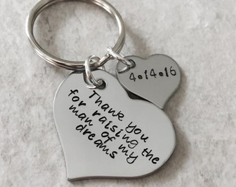 Thank you for raising the man of my dreams key chain with personalized charm woman if my dreams keychain