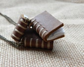 Leather book necklace/charm