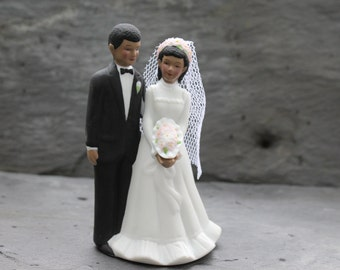 Vintage African American Cake topper / Wedding Bride and Groom Top / Couple