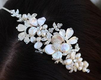 Freshwater Pearl Flower Headband / Headpiece