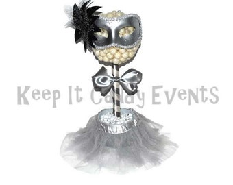 Silver and White Masquerade Ball Lollipop Topiary, Masquerade, Centerpiece, Lollipop Topiary, Silver, White, Candy Topiary, New Years Eve