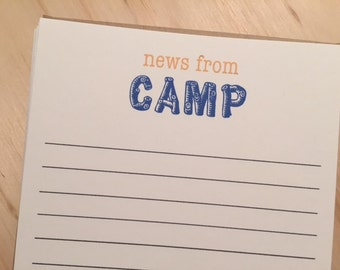 kids camp stationery, news from camp stationery set, vintage inspired flat note cards and envelopes, set of 10