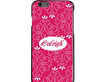 Hard Snap-On Case for Apple 5 5S SE 6 6S 7 Plus - CUSTOM Monogram - Any Colors - Hot Pink White Floral Name