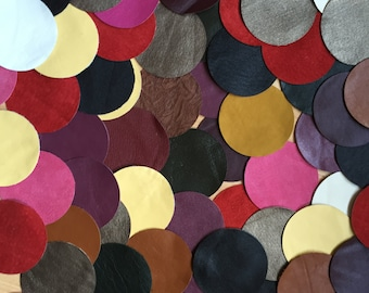 80 PCS Colorful Leather Scarps Circles