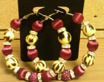Basketball wives inspired burgundy and leopard hoop