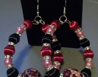 Basketball wives inspired pink and burgundy wire earring