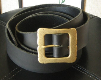 Pirate Long Leather Belt with Old Historical Square Buckle