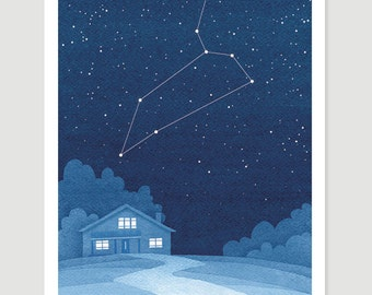 Leo zodiac Watercolor painting constellation giclee print wall decor starry night sky home blue art by VApinx