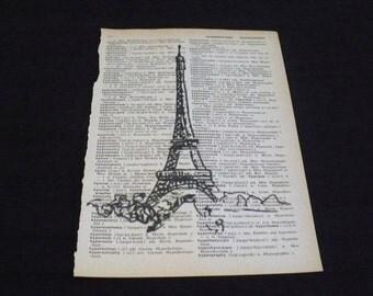 Eiffel Tower Vintage Dictionary Art Print Home Decor Wall Art Book Page Art Paris France