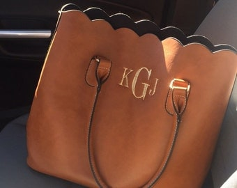 Monogrammed Scallop Tote Bag/Purse FREE SHIPPING