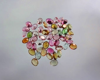 32-pc lot Natural AAAA quality Multi Tourmaline cut stone oval shape app pieces eye clean size 3X4mm GW949