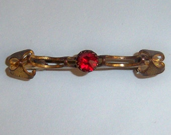 Small Antique Victorian Brooch With Red Stone. C Clasp Brooch.