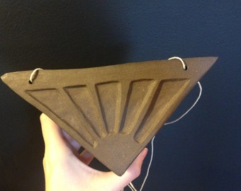 Pyramid Hanging Planter: Large with geometric carving