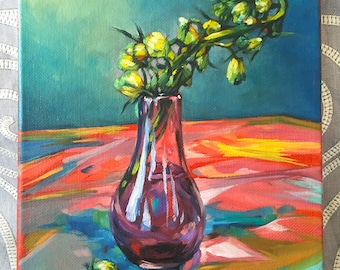 Original Oil Painting: Flower Buds