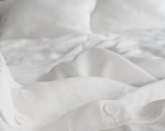 Linen Bedding Set/White/ Queen Duvet Cover and 2 Pillow Cases