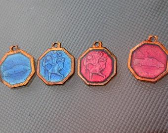 French vintage 4pcs blue  enamel Bronze medal religious  bronze red bleu enamel st christophe car travel gothic