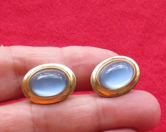 Vintage Blue Moonglow Oval Shaped Cuff Links