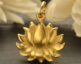 Large 24K Satin Gold Plated Sterling Silver Textured Blooming Lotus Charm