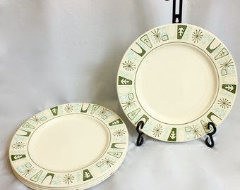 "Mid-Century Taylor-Smith-Taylor ""Cathay"" Taylorstone Dinner Plate/ Atomic"