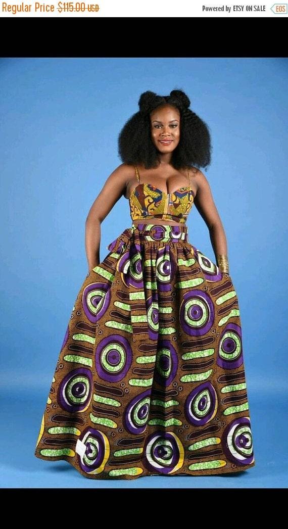 SALE NEW Purple African Print Maxi skirt
