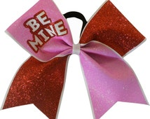 Be Mine Cheer Bow | Cheer Bow | Valentines Day Cheerleading Bow | Red and Pink Glitter Cheer Bow
