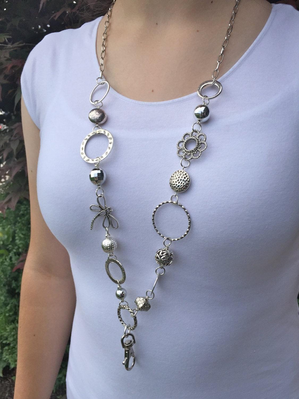 silver dragonfly lanyard necklace beaded lanyard