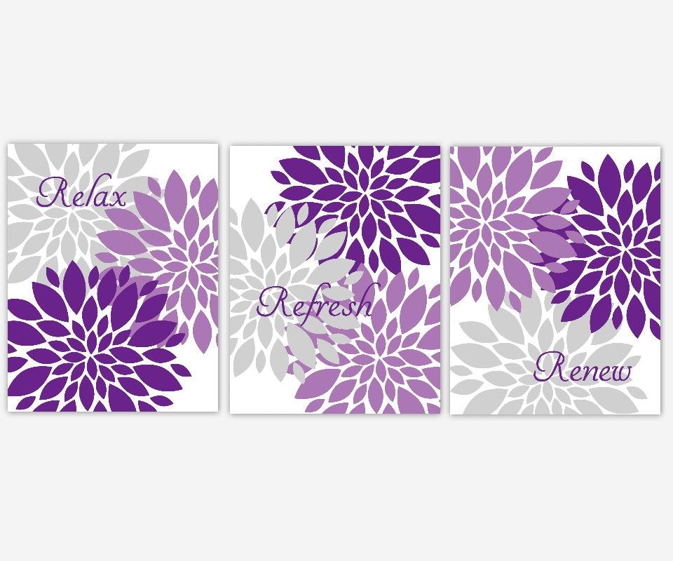 Bath wall art lavender purple gray spa bath flower burst for Gray bathroom wall decor