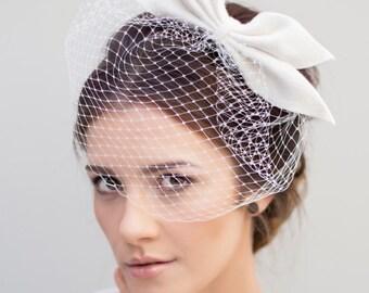 Birdcage Veil, Bridal Fascinator, Wedding Bow Headpiece, Veils for Brides - Lotta