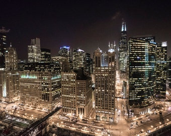 Merchandise Mart Rooftop Skyline - Chicago - Cityscape - Street Photography - HDR - Fine Art - Urban Art - Illinois - Prints